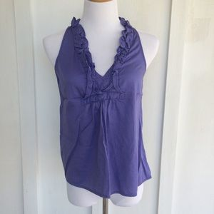 Purple sleeveless blouse with ruffles